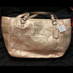 Beautiful COACH Metallic Gold Embossed Leather.